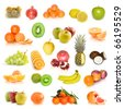 fruit collection isolated on white - stock photo