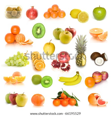 fruit collection isolated on white