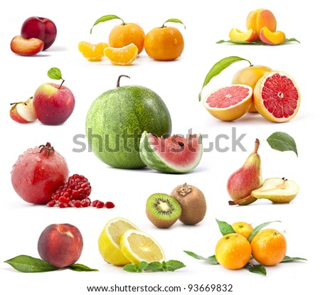 Fruit Collection on a white background - stock photo