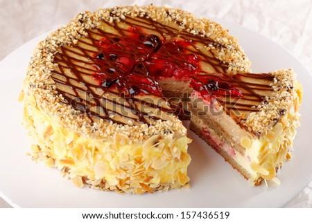 Fruit cream cake - stock photo
