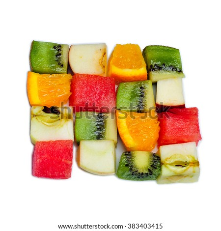 Fruit cubes made of kiwi,orange,apple,watermelon isolated on white background. - stock photo