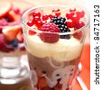 Fruit dessert in a glass - stock photo