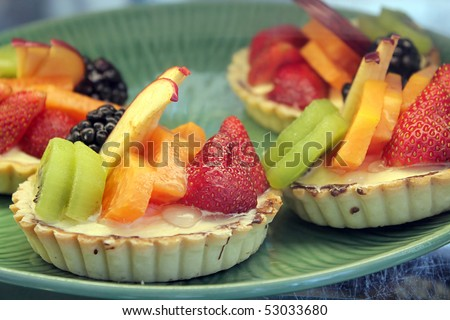 Fruit desserts on a plate - stock photo