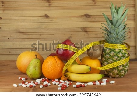 Fruit diet. The concept of healthy diet food. Diet for athletes. Reduced weight through a healthy diet. - stock photo
