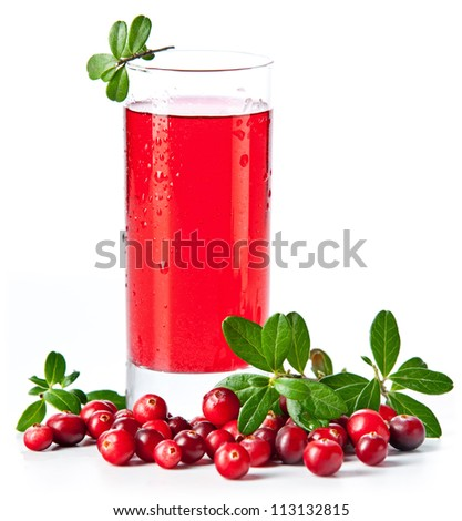 Fruit drink made from cranberries with leaves on white background - stock photo
