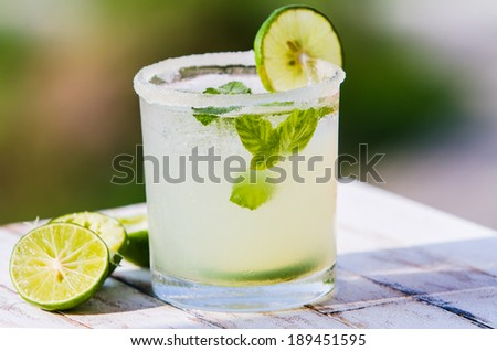 Fruit drinks. Fresh lemonade with sugar - stock photo