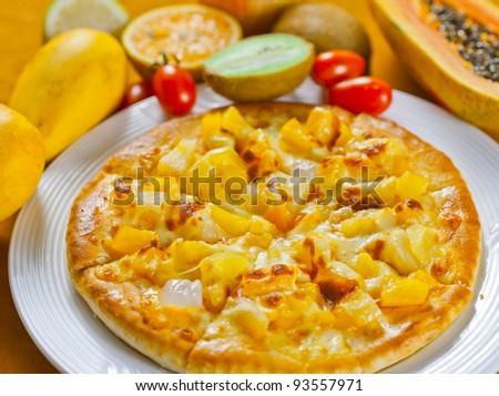 fruit flavor pizza - stock photo