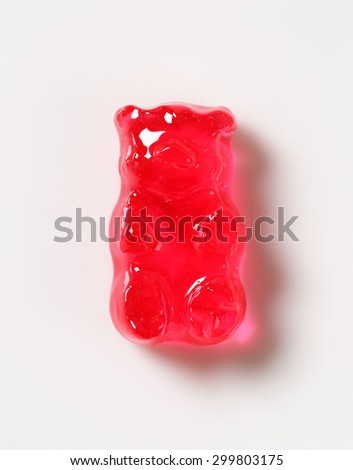 Fruit flavored gummy bears in assorted colors - stock photo