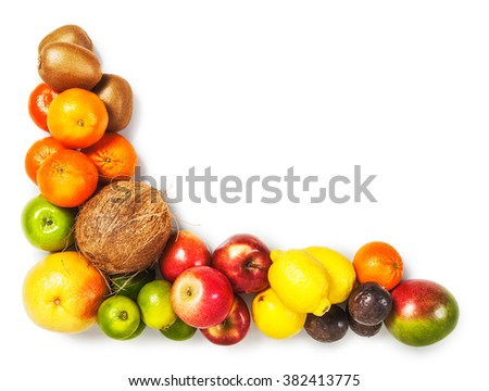 Fruit frame isolated on white background. Healthy eating and dieting concept. Winter assortment. Design element. Object with clipping path - stock photo