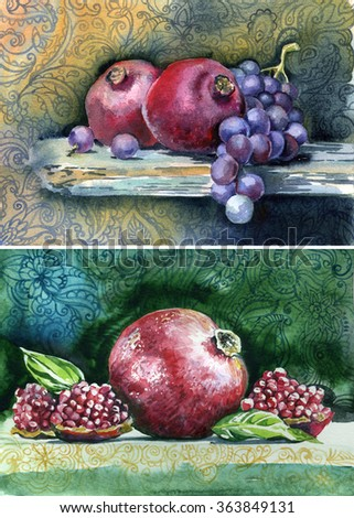 fruit, greengrocery, red pomegranate, grapes, scenic still life of fruit - stock photo