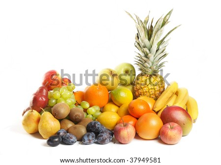 Fruit group - citrus, apples, pears, prunes, pineapple on white background