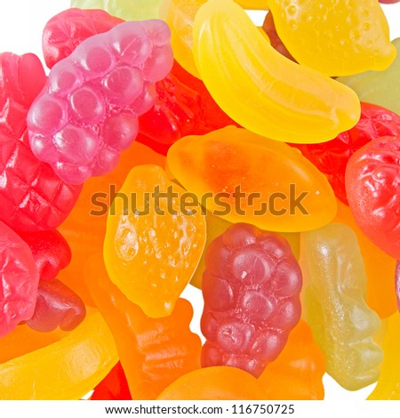 fruit  gummy candies background - stock photo
