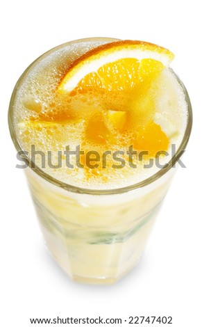 Fruit Healthy Cocktail from Orange, Mint and Litchi Served with Orange Slice. Isolated on White Background