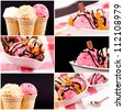 Fruit ice cream collage - stock photo