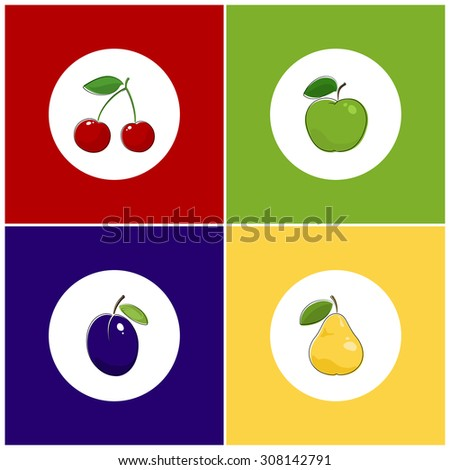 Fruit Icons, Round White Fruit Icons on Colorful Background, Cherry Icon, Plum Icon , Pears Icon, Apple Icon - stock photo