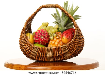Fruit in a wicker basket on a white background