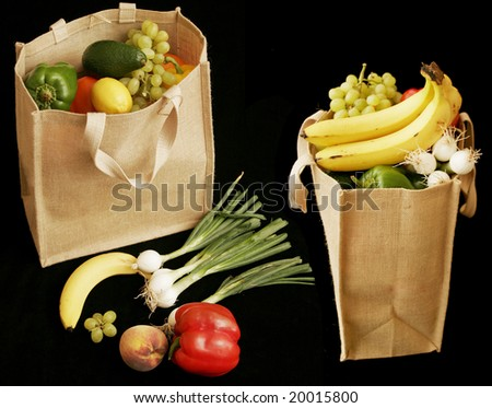 fruit in bags - stock photo