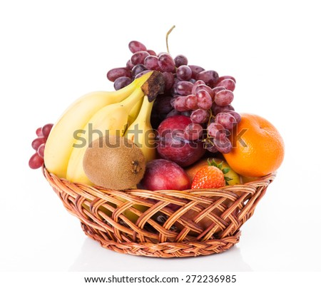 fruit in basket isolated on white background - stock photo