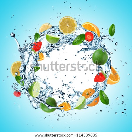Fruit in water explosion - stock photo