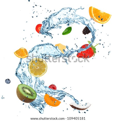 Fruit in water splash over white