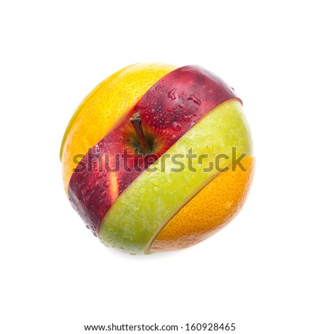 Fruit is made from several different fruit slices on white background.