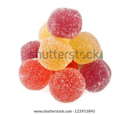 fruit jelly colored balls on a white background