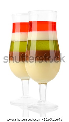 fruit jelly in glasses isolated on white - stock photo