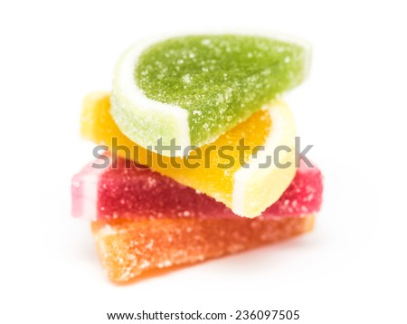 Fruit Jelly Top Group Isolated On White - stock photo
