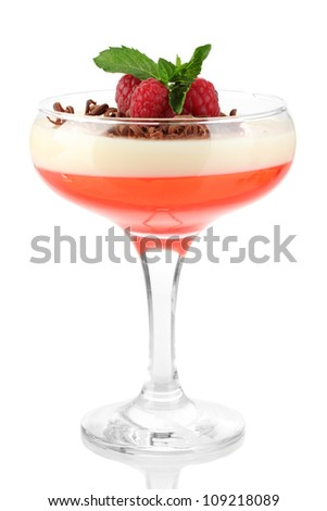 fruit jelly with chocolate and raspberries in glass isolated on white