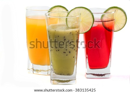 Fruit juice and fruit on a white background