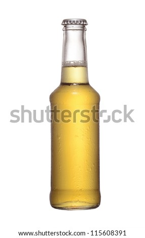 fruit juice beer bottle studio shot with cap isolated on white - stock photo