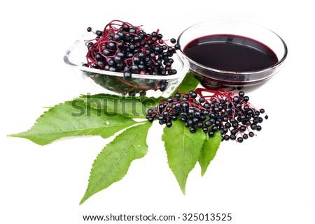 Fruit juice elderberry on white isolated background - stock photo
