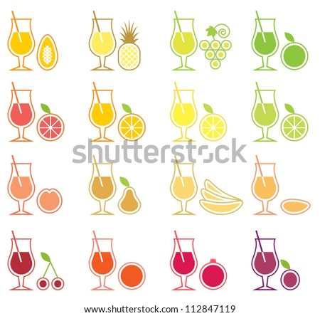 Fruit Juice Icon Set - stock photo