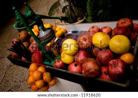 Fruit Juice Stand - stock photo
