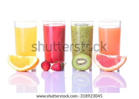 Fruit juice ( strawberries , orange , kiwi , grapefruit )  Isolated on white background. - stock photo