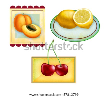 Fruit labels for apricots, lemons and cherries. Original digital illustration, included clipping path allows to isolate each fruit from its frame. - stock photo