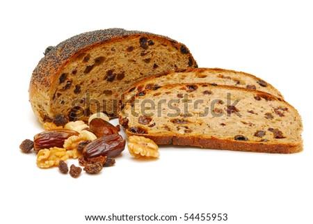 fruit loaf isolated - stock photo