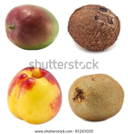 fruit, mango coconut kiwi peach - stock photo