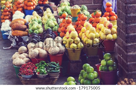 fruit market - stock photo