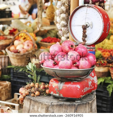 fruit market in Campo di Fiori, Rome - stock photo