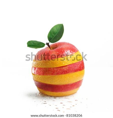 fruit mix. apple and orange - stock photo