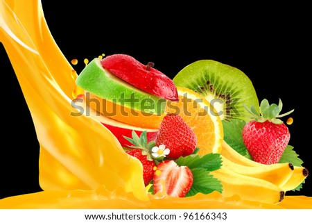 Fruit mix isolated on black background - stock photo