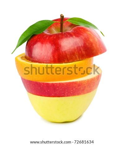 Fruit Mix. Isolated on white background. - stock photo