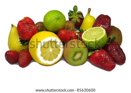fruit mix on the white - stock photo
