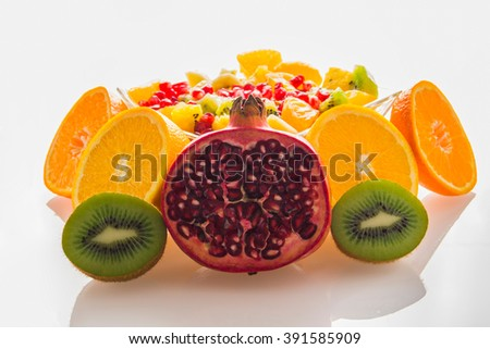 Fruit mix orange pomegranate kiwi mandarin