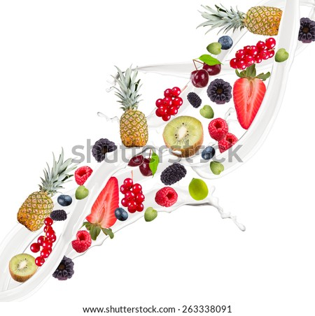 Fruit mix, pineaplle. strawberry, blueberry, raspberry and currant in milk splash, isolated on white background - stock photo