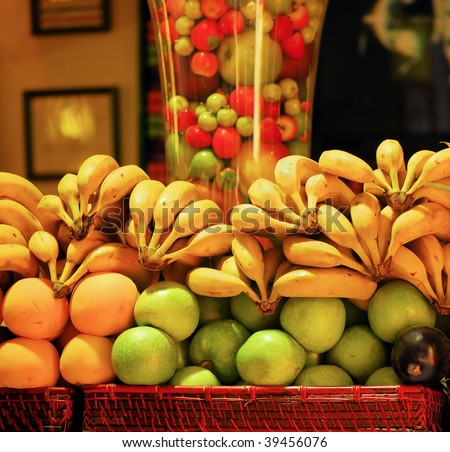 fruit on a shop counter in barcelona for preparation of natural juice