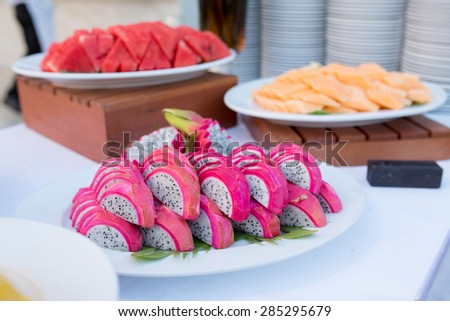 Fruit on the buffet table - stock photo