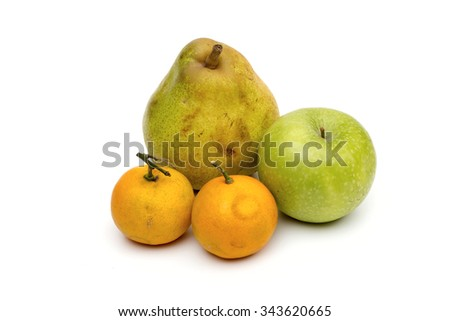 Fruit on the white background - stock photo