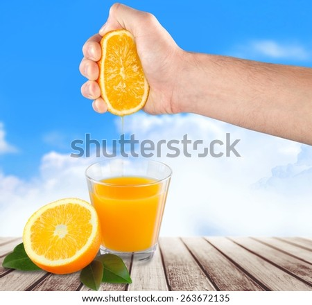 Fruit. Orange juice in glass with mint,  fresh fruits on wooden background - stock photo